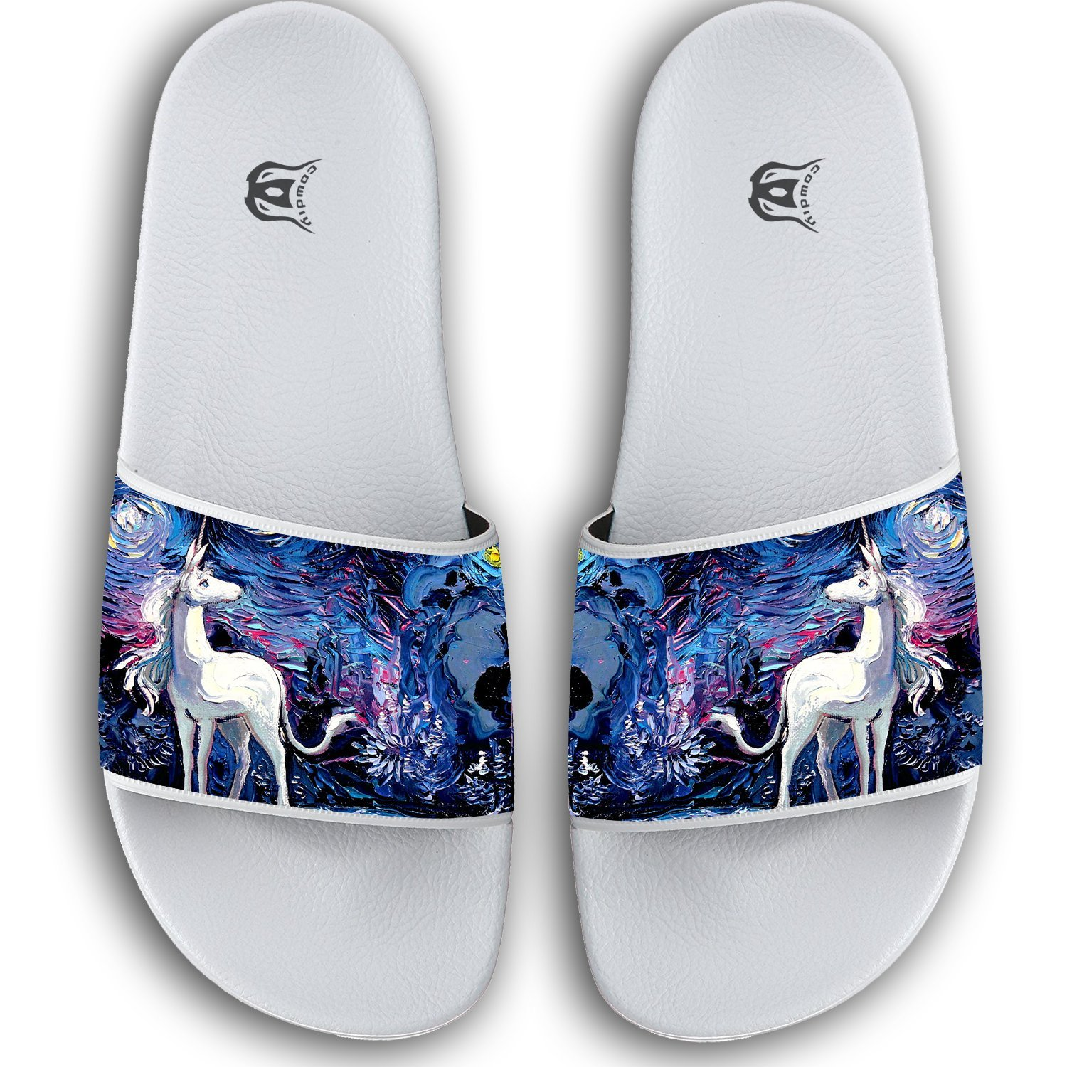 Abstract Unicorn Horse Slippers Skid-proof Indoor Outdoor Flat Flip Flops Beach Pool Slide Sandals For Men Women by Xianjingshui (Image #1)