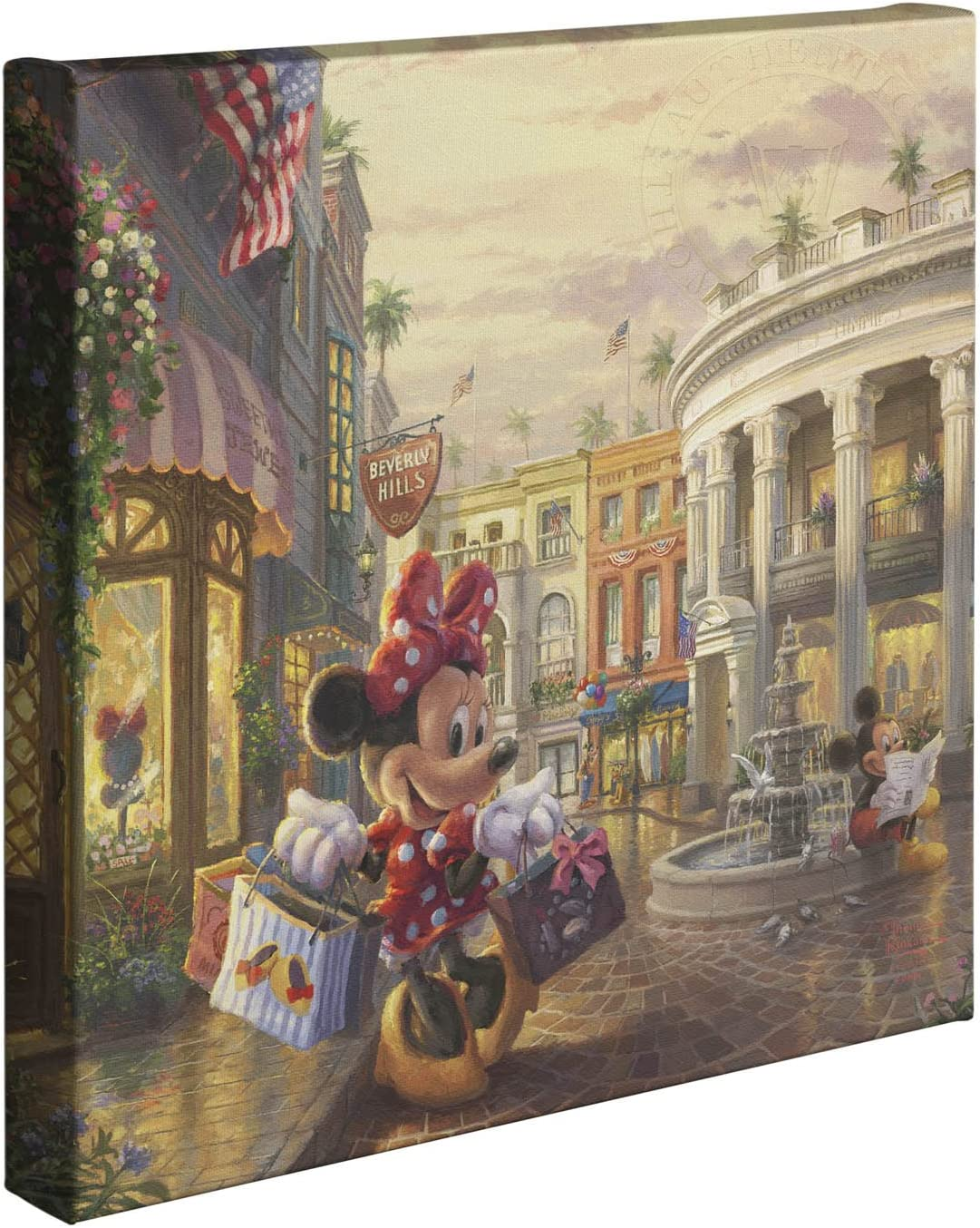Thomas Kinkade Studios Minnie Rocks The Dots on Rodeo Drive 14 x 14 Gallery Wrapped Canvas