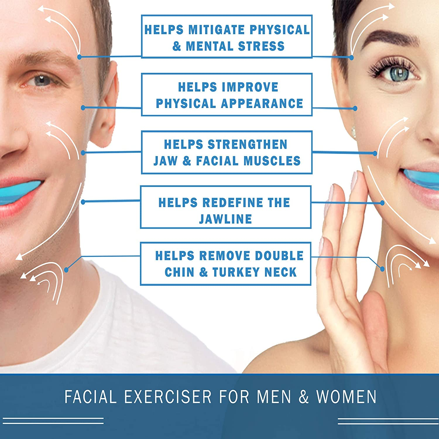 Face Muscle Exerciser Jawlifter Blue Jaw Exerciser Double Chin Reducer for Women and Men Face Slimmer Ball Jawline Exerciser 1 PCS Neck Trainer