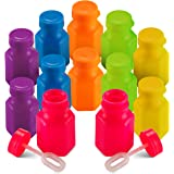 Mini Neon Party Bubbles (12 Pack) Assorted Mini Bubble Bottles with Blow Wands for Kids Outdoor Summer Party's, Birthday Favo