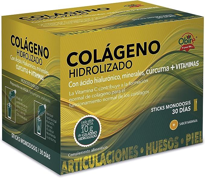 Colágeno hidrolizado 10 gr. con ácido hialurónico, minerales, cúrcuma. 30 Stick
