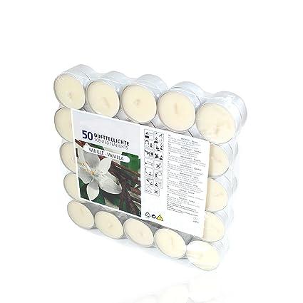 50 Pezzi in Custodia Trasparente con Odore di Vaniglia Smart Planet/® Candele profumate alla Vaniglia Confezione da 50 lumini