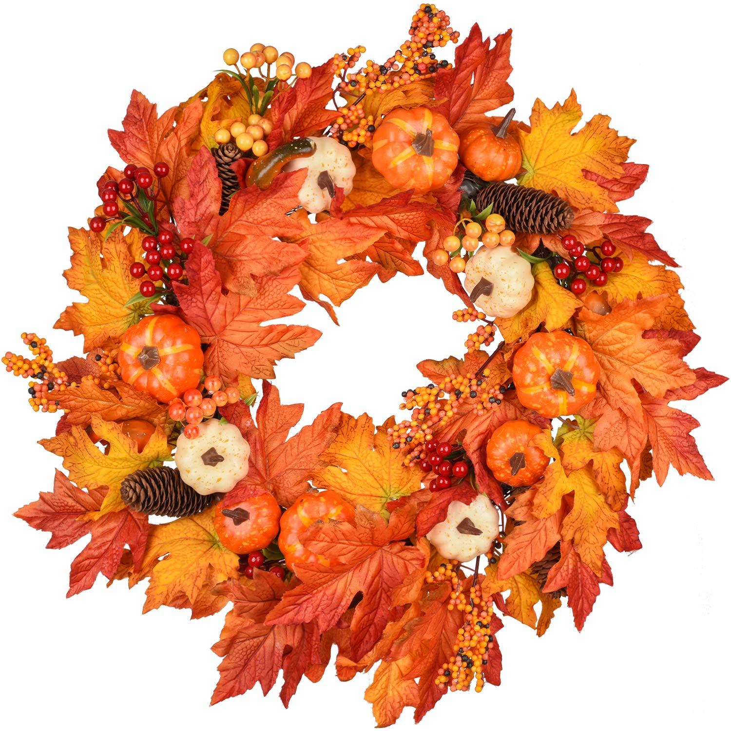 DearHouse 22 Inch Fall Wreath, Autumn Maple Leaf Harvest Thanksgiving Door Wreath for Front Door with Pumpkins, Pinecone, Maple Leaf and Berry by DearHouse