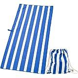 Exerz Asciugamano & Borsa Chiusura a Cordoncino/Teli Mare - Set 2 pz - XXL 160x80cm Telo Spiaggia Strisce Asciugamano Viaggio/Sport - Palestra- Campeggio - Nuoto -Yoga - Vacanza - Bagno - Blu