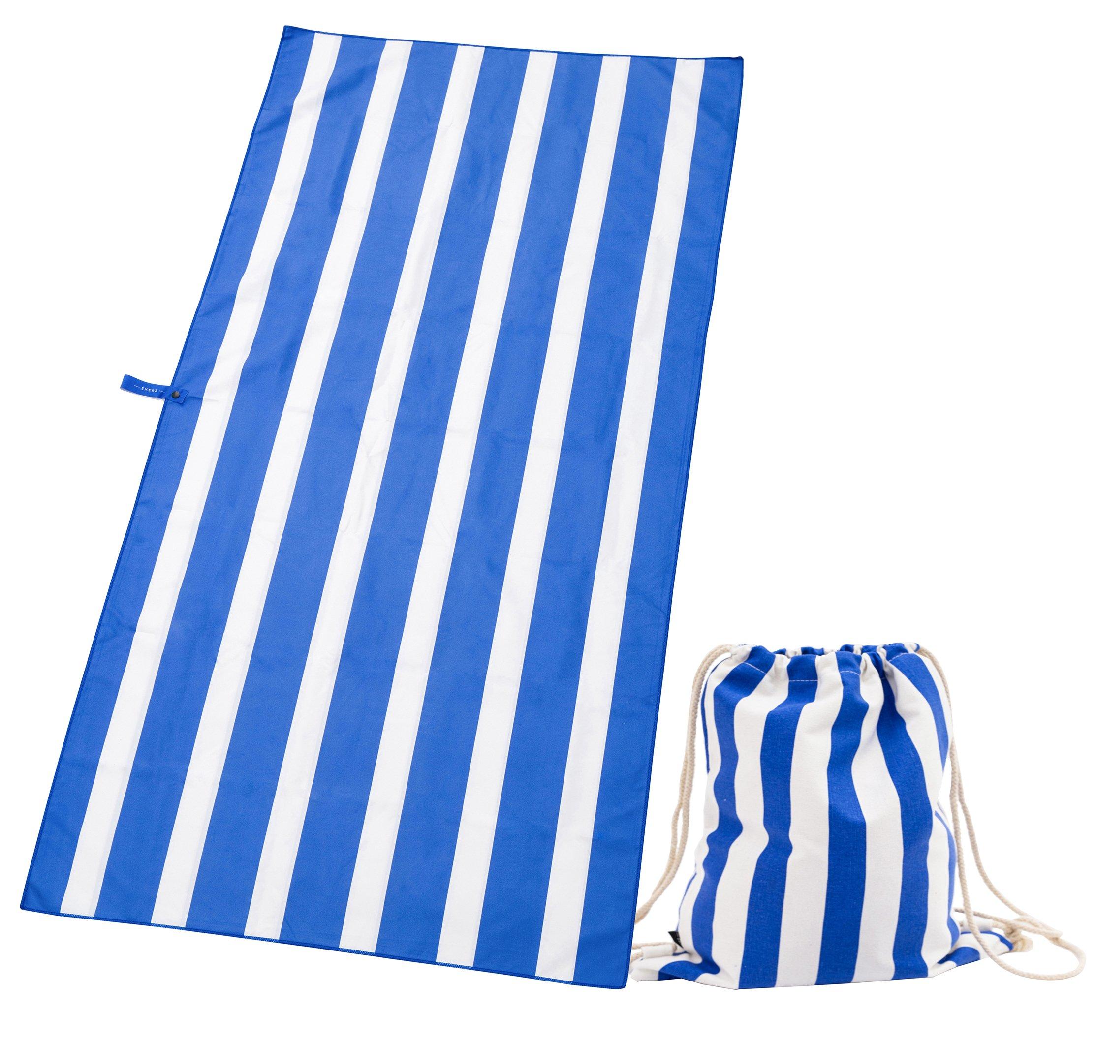 Exerz Toallas de Microfibra y Bolsas con Cordón/Toallas de Playa – Viajeras XXL 160x80