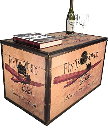 Styled Shopping Airplane Large Wood Storage Trunk Wooden Treasure Chest
