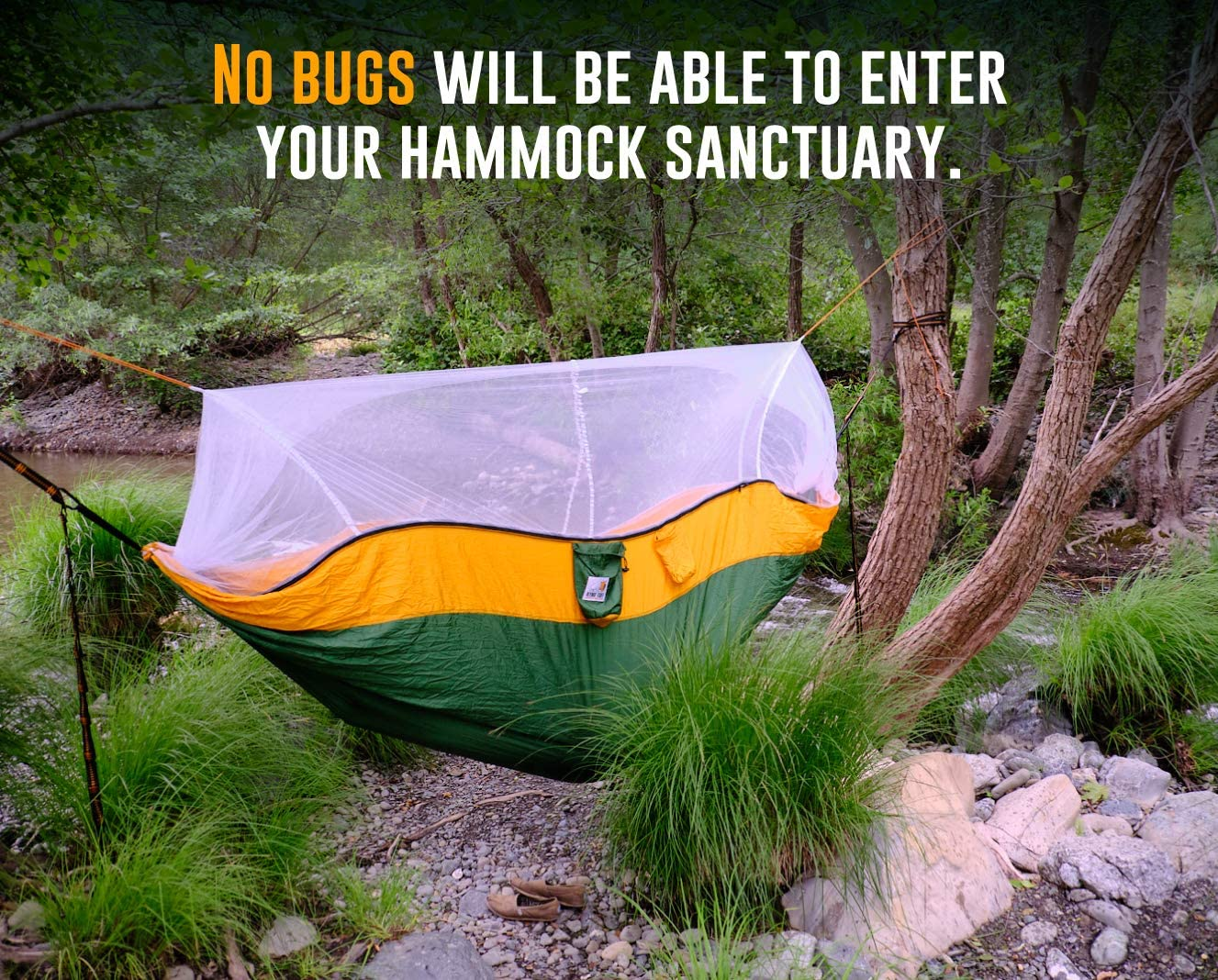 and Heavy Duty Carabiners Included. Ryno Tuff Camping Hammock with Mosquito Net Safe Tree Straps Extra Pocket Reinforced Not to Tear But Still Lightweight Double Hammock with Bug Net