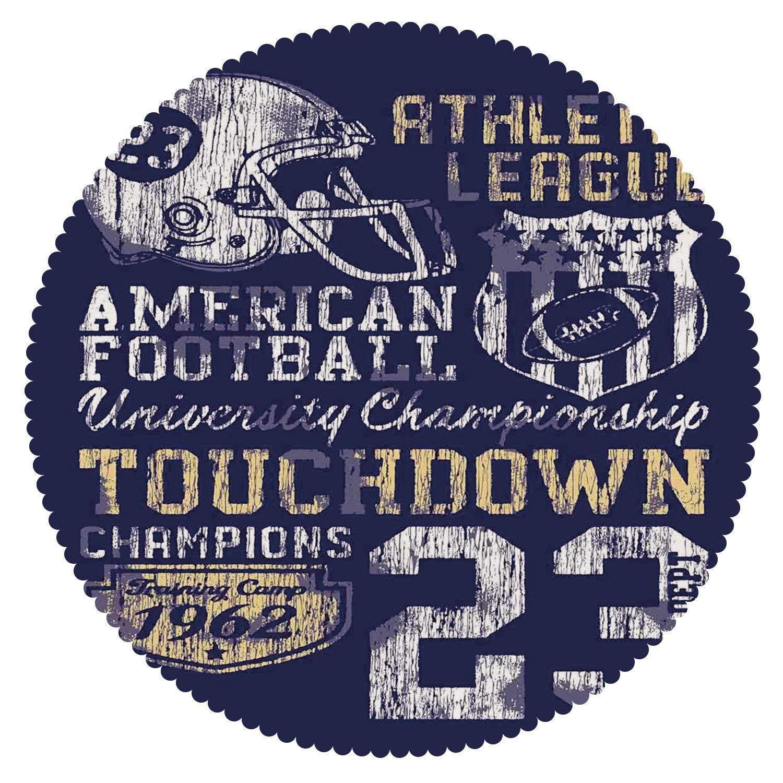 iPrint Decorative Round Tablecloth [ Sports,Retro American Football College Illustration Athletic Championship Apparel Decorative,Purple White Yellow ] Fabric Home Decor Set