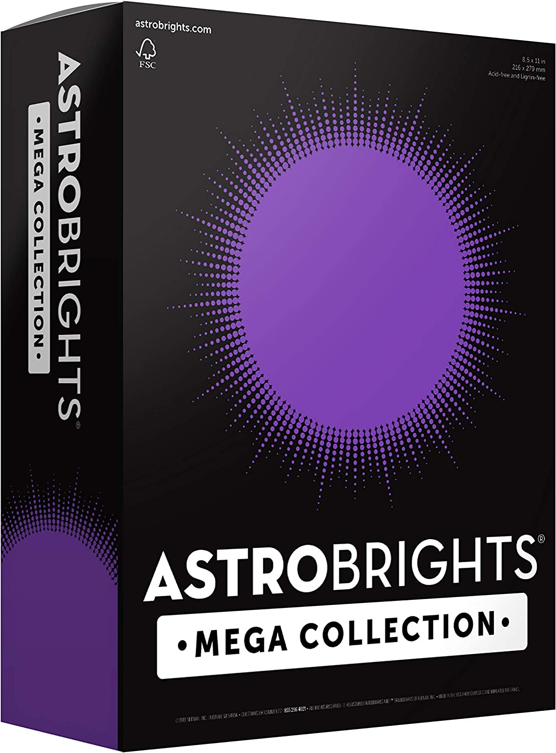 "Astrobrights Mega Collection, Colored Cardstock, Ultra Purple, 320 Sheets, 65 lb/176 gsm, 8.5"" x 11"" - MORE SHEETS! (91696)"