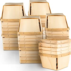 "One Pint Wooden Berry Baskets (50 Pack); for Picking Fruit or Arts, Crafts and Decor; 4"" Square Vented Wood Boxes"
