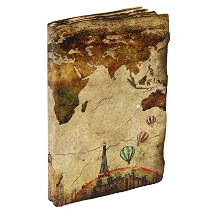 Amazon icrafts india vintage travel journal world map and icrafts india vintage travel journal world map and eiffel tower printed leather personal diary book with gumiabroncs Images