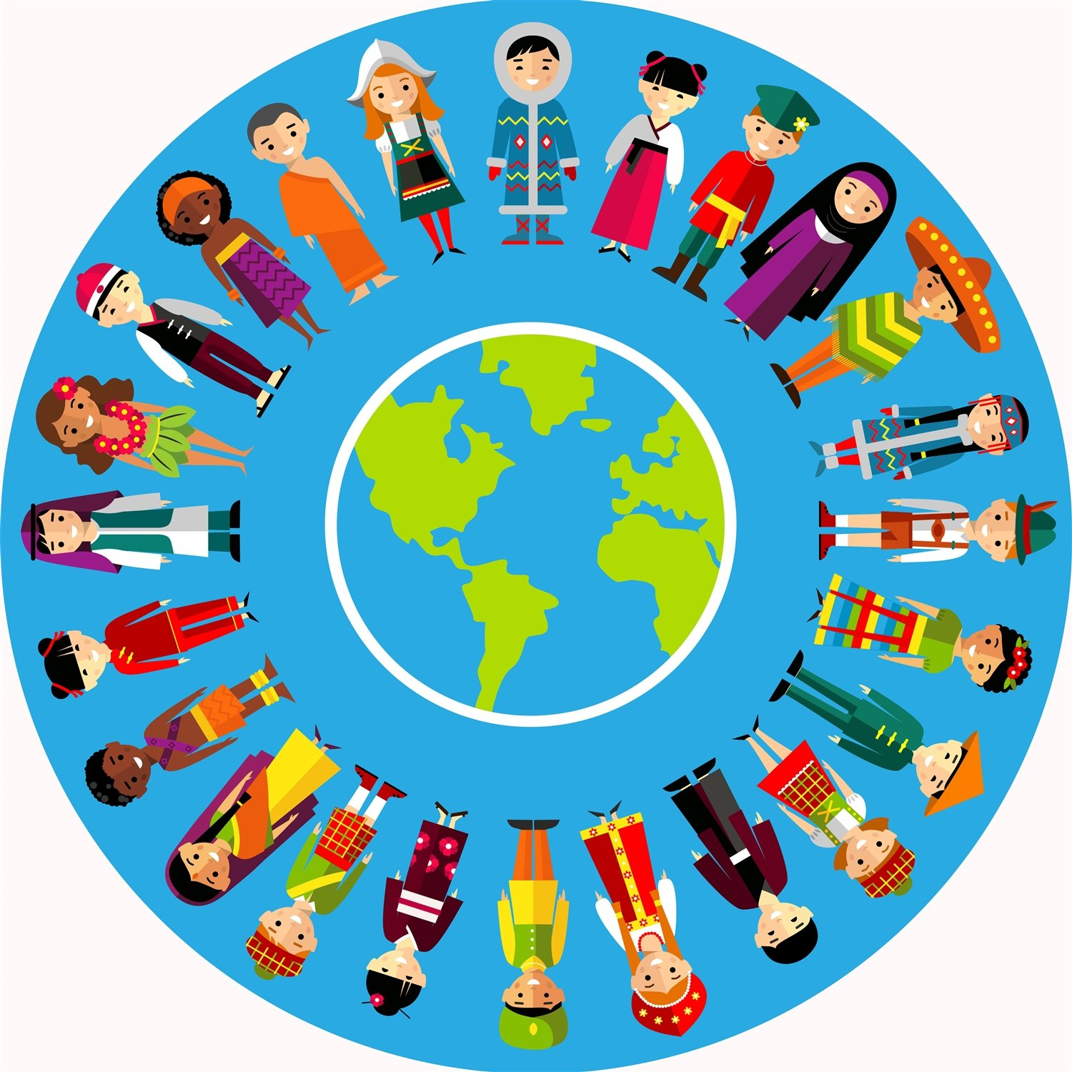 Be-Active Large Multi Cultural Circular Playmat - A fun addition to the bedroom, nursery or classroom (88 x 88cm)