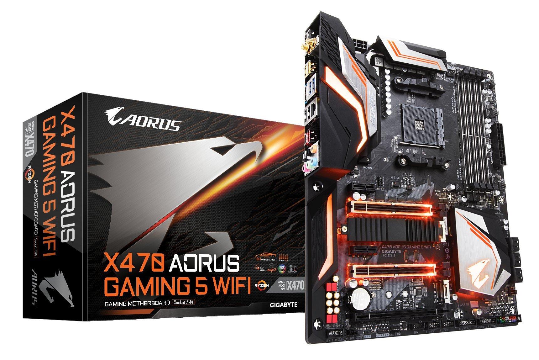 GIGABYTE X470 AORUS GAMING 5 WIFI (AMD Ryzen AM4/ X470/ USB 3.1 Gen 2 Type A, Type C/ ATX/ DDR4/ Intel Wave 2 WIFI/ M.2/ HDMI/ Motherboard)