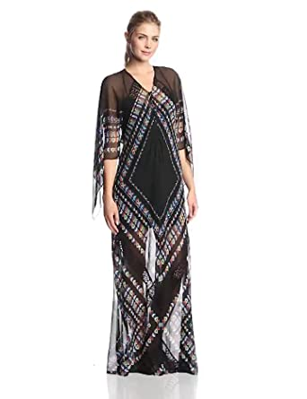 BCBGMAXAZRIA Women's Izabel Printed Long Sleeve Caftan Maxi Dress, Black/Multi, X-Small