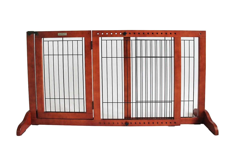 Simply Shield+ | Hunde-Barriere | Hunde-Absperrgitter | Verstellbare Breite mit Tür Braun) Simply Plus FWM01-M