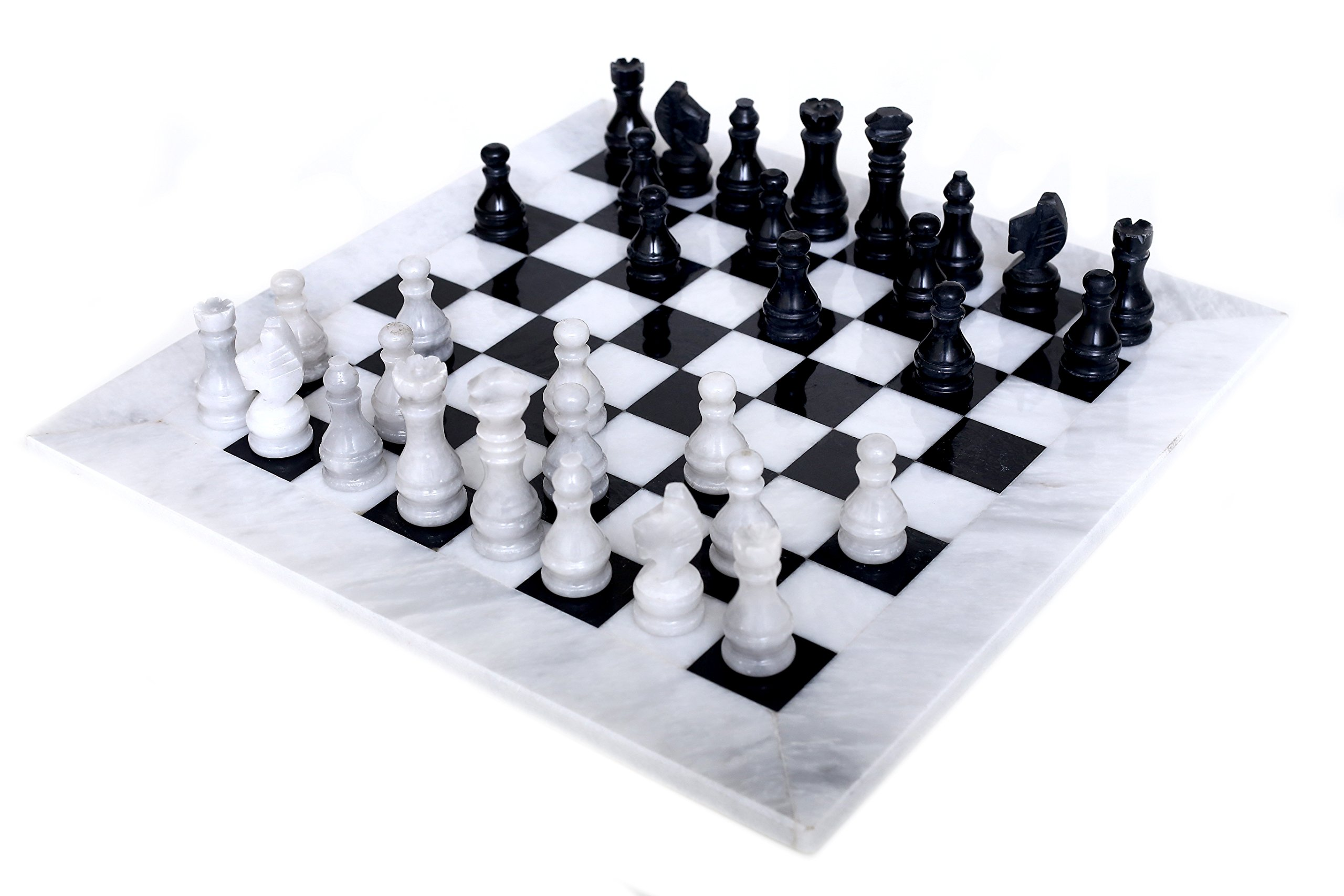 RADICALn 16 Inches Large Handmade White and Black Weighted Marble Full Chess Game Set Staunton and Ambassador Style Marble Tournament Chess Sets -Non Wooden -Non Magnetic -No Digital Dgt -Not Chinese by RADICALn