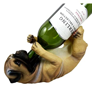 Ebros Lifelike Purebreed Pedigree Canine Adorable Fawn Pug Dog Wine Bottle Holder Figurine Statue As Kitchen Wine Cellar Centerpiece Decor Storage Organizer (Fawn Pug)