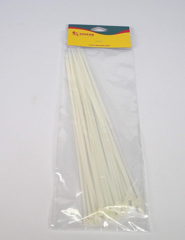 Sanfor 10184 Bl/íster 25 bridas Nylon de 200x3,6 color blanco