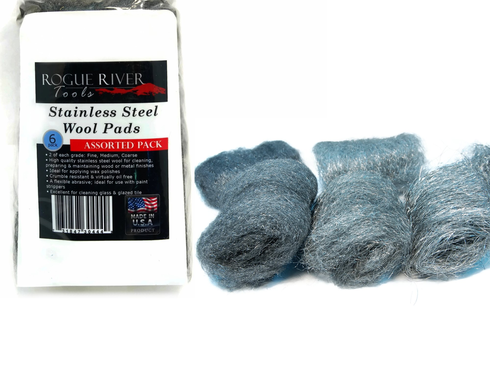 6pc Assorted Pack 434 Stainless Steel Wool Pads (Fine, Medium, Coarse) - Made in USA! by Rogue River Tools
