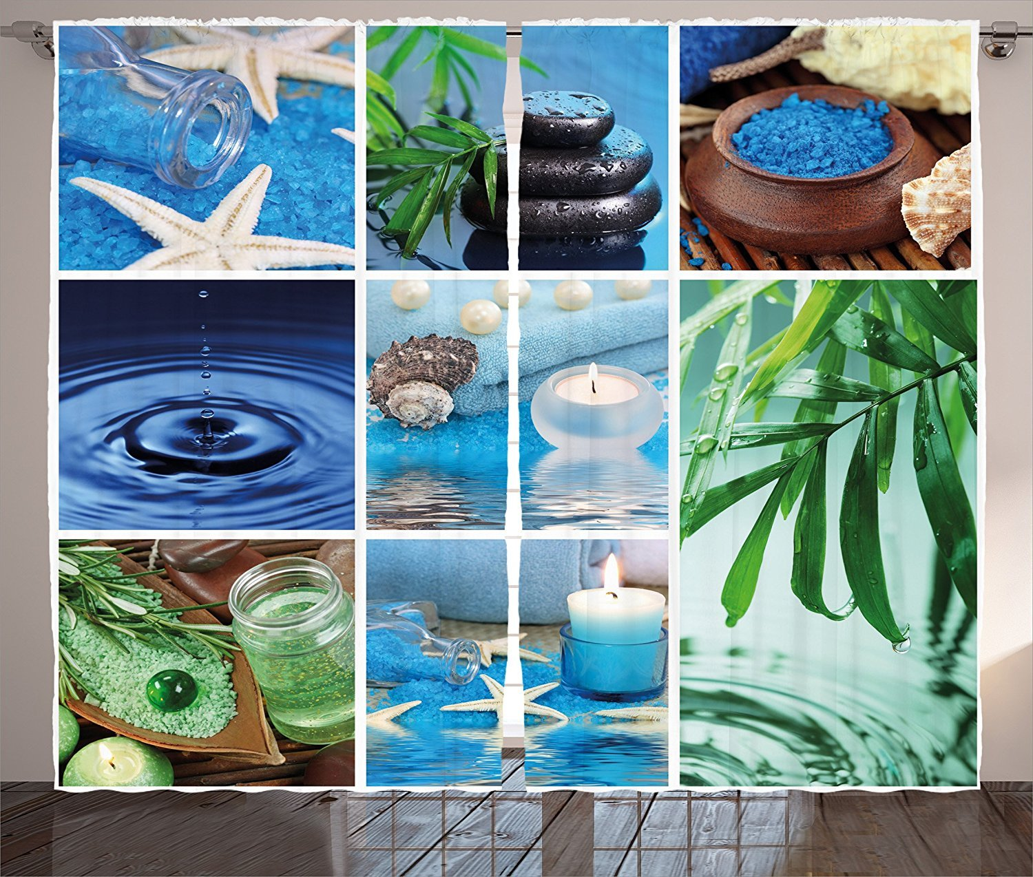 Spa Decor Curtains Ocean Theme Collage with Starfish Stone Botanic Plants Aqua and Candles Image Living Room Bedroom Window Drapes 2 Panel Set Blue and Green
