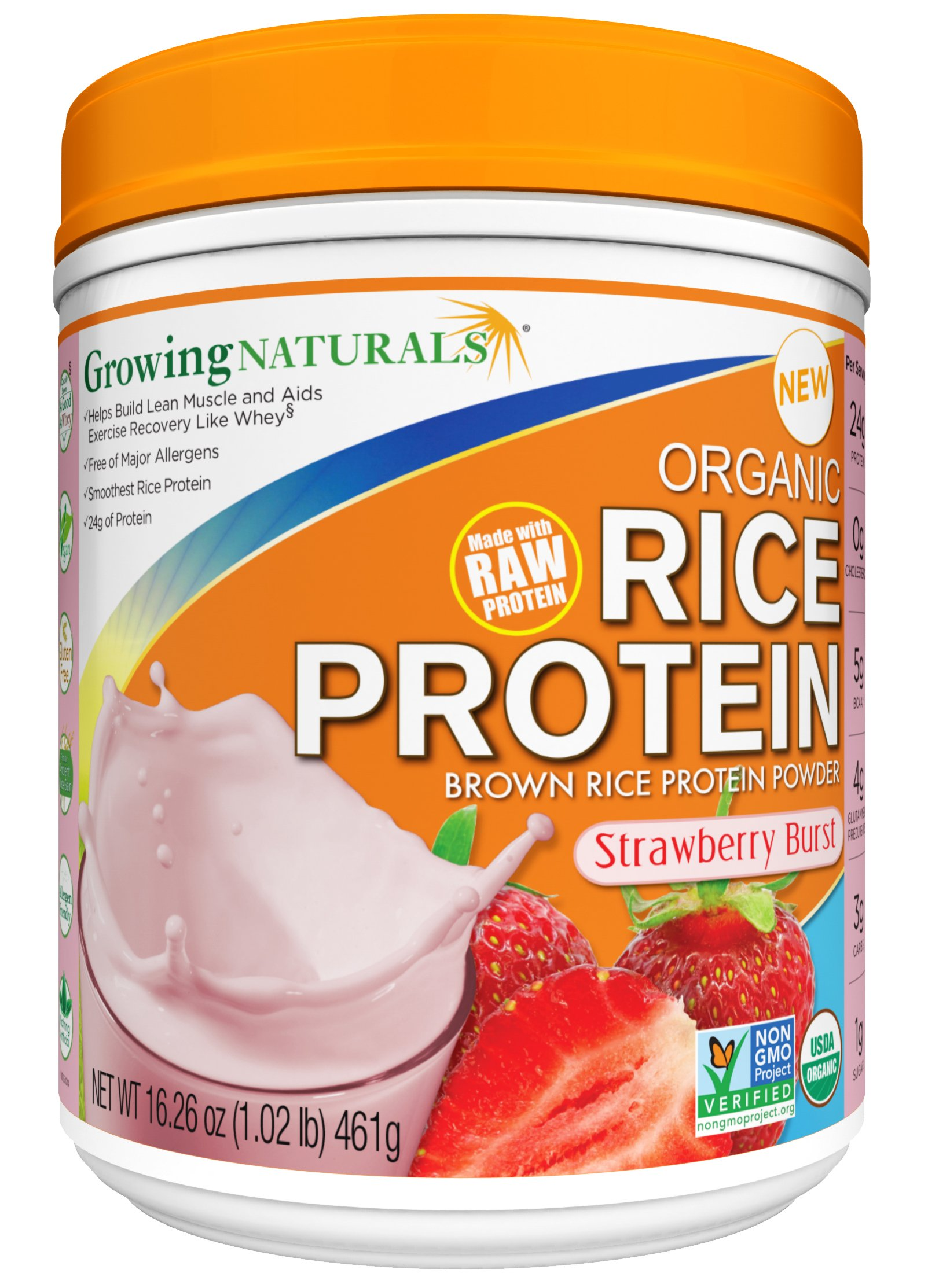 Growing Naturals Organic Rice Protein Powder, Strawberry Burst, 16.26 Ounce
