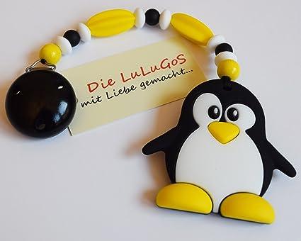 Parte Cadena Mordedor con pingüino amarillo blanco y negro ...