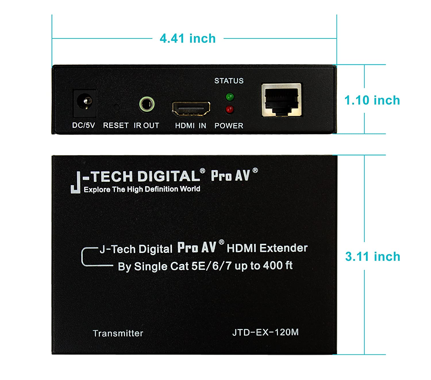 J Tech Digital Proav Hdmi Extender Over Tcp Ip Ethernet Wiring On Cable Systems Cat5 Cat5e Cat6 Cat6e Cat7 What Earth Single 1080p With Ir Remote Up To 400 Ft Electronics