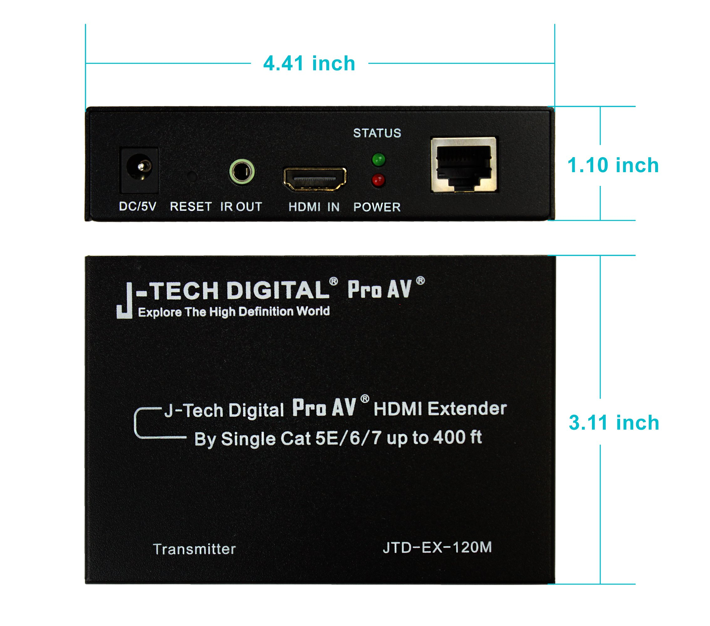 J-Tech Digital ProAV Hdmi Extender Over TCP/IP Ethernet/over Single Cat5e/cat6 Cable 1080p with IR Remote - Up to 400 Ft by J-Tech Digital (Image #3)