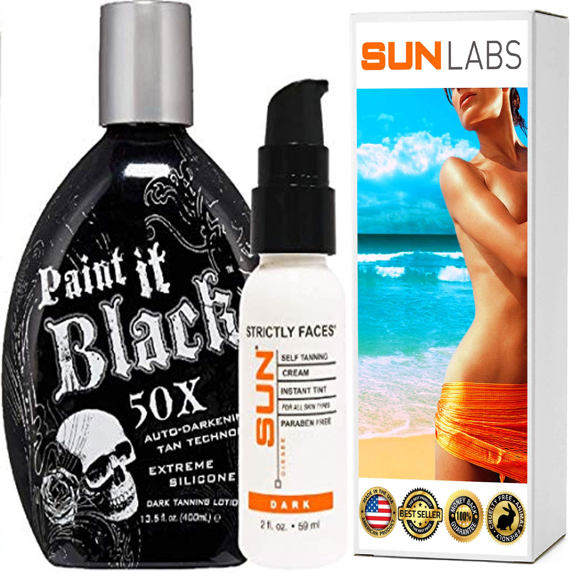 Millennium Tanning Paint It Black 50X,13.5 Oz | Strictly Faces Dark Self Tanner (lvl 3) 2 Fl Oz by Sun Laboratories - Body and Face