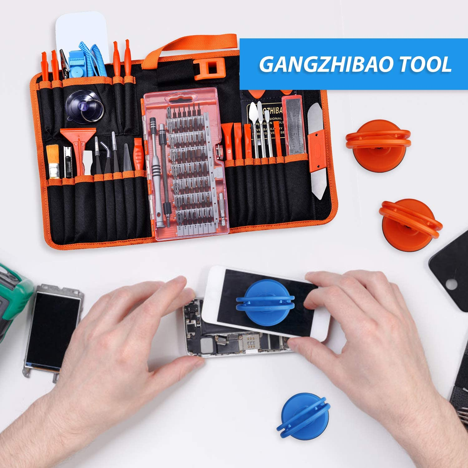GANGZHIBAO 90pcs Electronics Repair Tool Kit Professional+4pcs suction cup for MacBook iMac,iPhone,PC,iPad,Tablet,LCD Screen Opening Tool