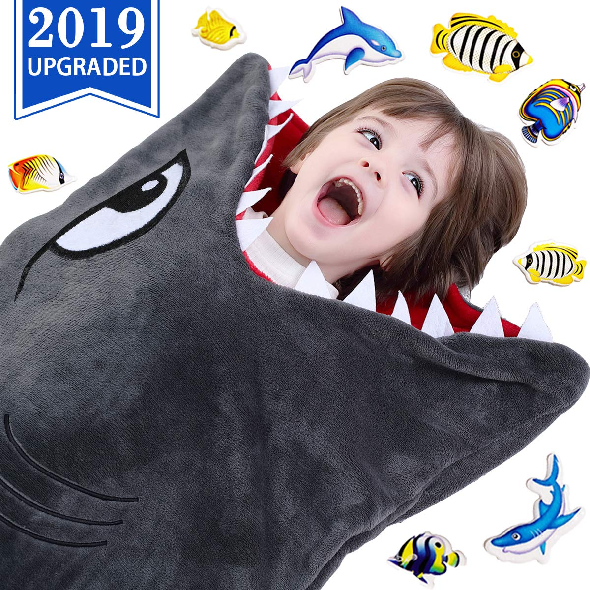 CozyBomB Shark Tails Animal Blanket for Kids - Cozy Smooth One Piece Design - Durable Seamless Snuggle Plush Throw Enlarged Size Gray Sleeping Bag with Blankie Fun Fin - Boys and Girls by CozyBomB
