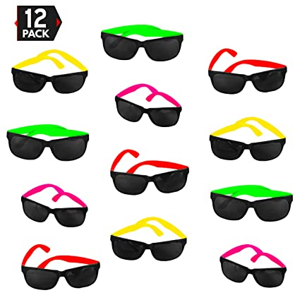 0b924da28181 12 Pack 80 s Style Neon Party Sunglasses – Fantastic Party Pack Favors