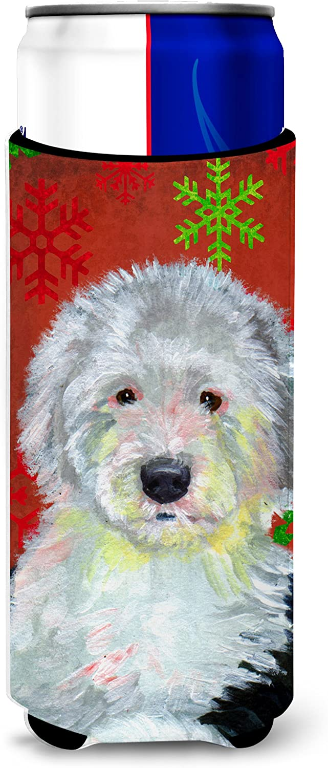Caroline's Treasures LH9351MUK Old English Sheepdog Red Green Snowflakes Holiday Christmas Ultra Beverage Insulators for slim cans, Slim Can, multicolor