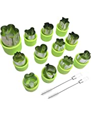 12 Pcs Fruit Cookie Vegetable Cutter Shape Set for Kids Salad, AFUNTA Cartoon Animal/Flower/Star/Heart Shaped Mould Decorative Food Cutter Stamps for Toddler, with 2 Pcs Cleaning Brushes