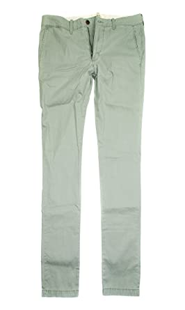 Hollister Men's Super Skinny Lightweight Zipper Fly Chino Pants HO23  (38x34, Olive)