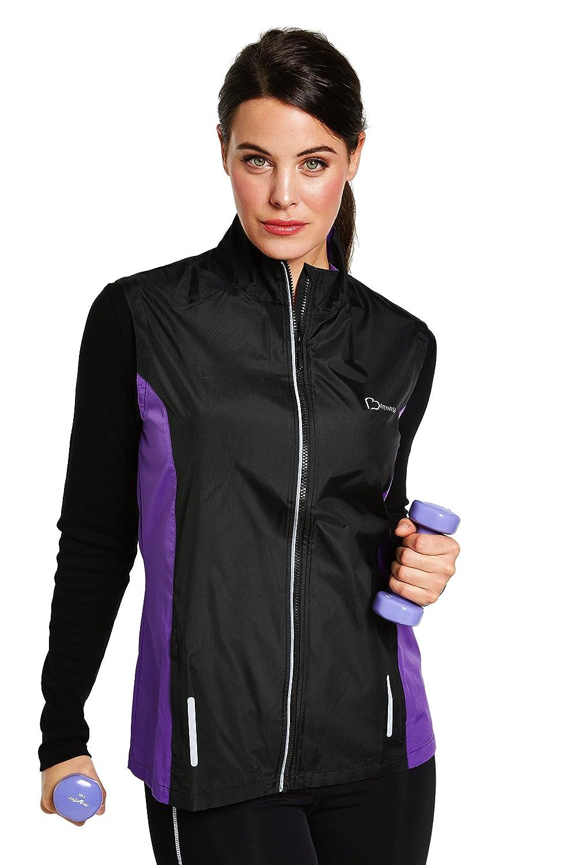 Cellbes Of Sweden Womens Sports Activity Fitness Lightweight Gilet Black Purple Trim 515823