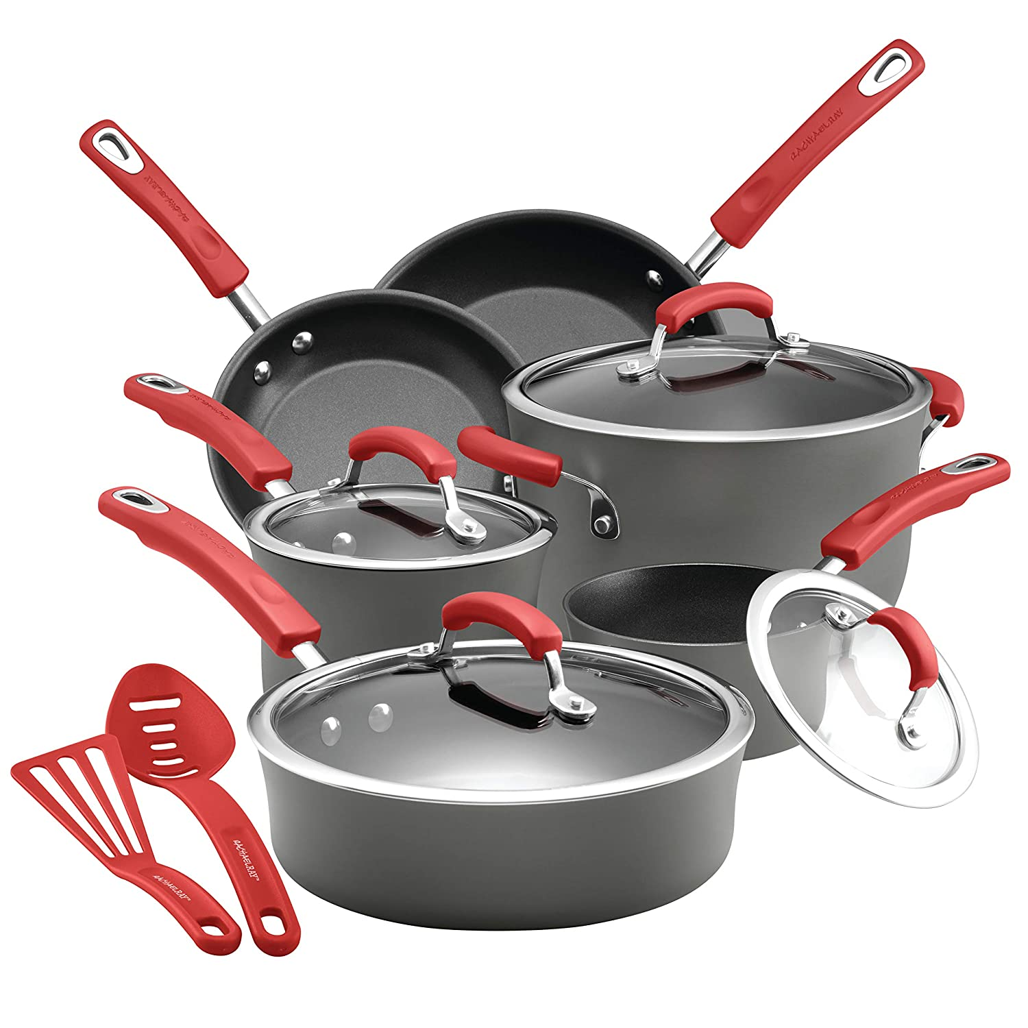 Rachael Ray 87661 14-Piece Hard Anodized Aluminum Cookware Set, Mixed Color