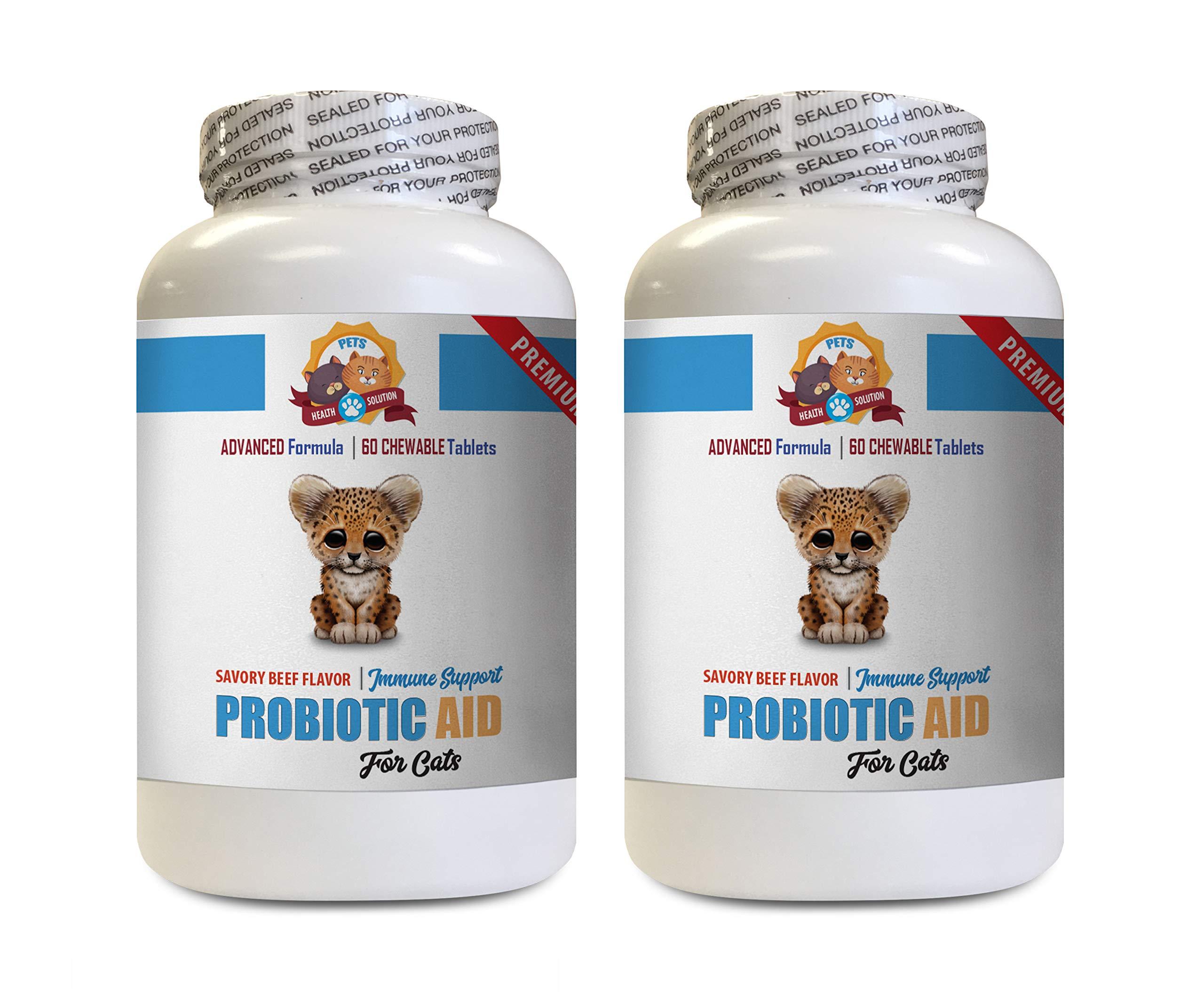 PETS HEALTH SOLUTION cat probiotics - CAT PROBIOTIC AID - Premium Formula - Natural Digestive Helper - bifidobacterium for Cats - 3 Bottles (180 Treats) by PETS HEALTH SOLUTION