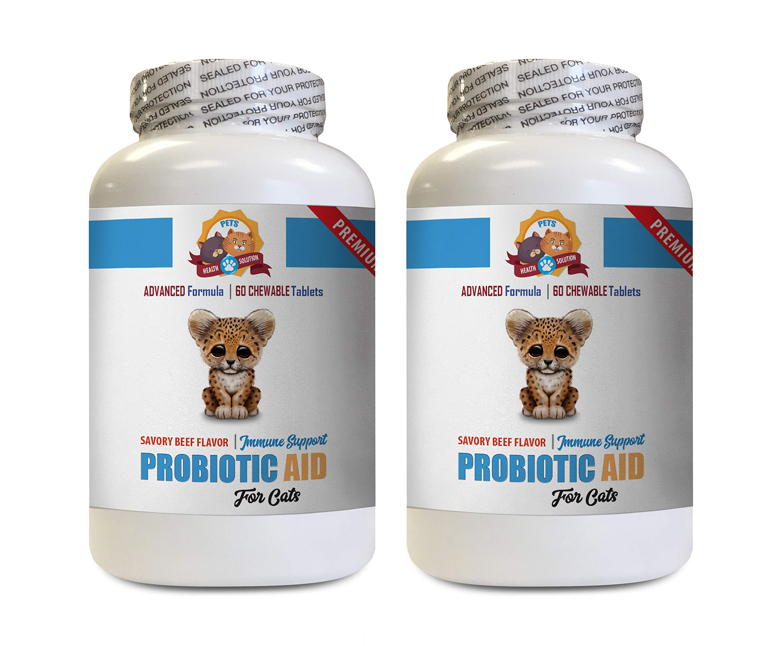 PETS HEALTH SOLUTION cat enzymes Digestive - CAT PROBIOTIC AID - Premium Formula - Natural Digestive Helper - acidophilus for Cats - 2 Bottles (120 Treats)