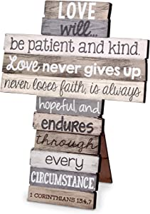 Love Never Gives Up Distressed Wood 9 Inch Stacked Wood Cross Figurine