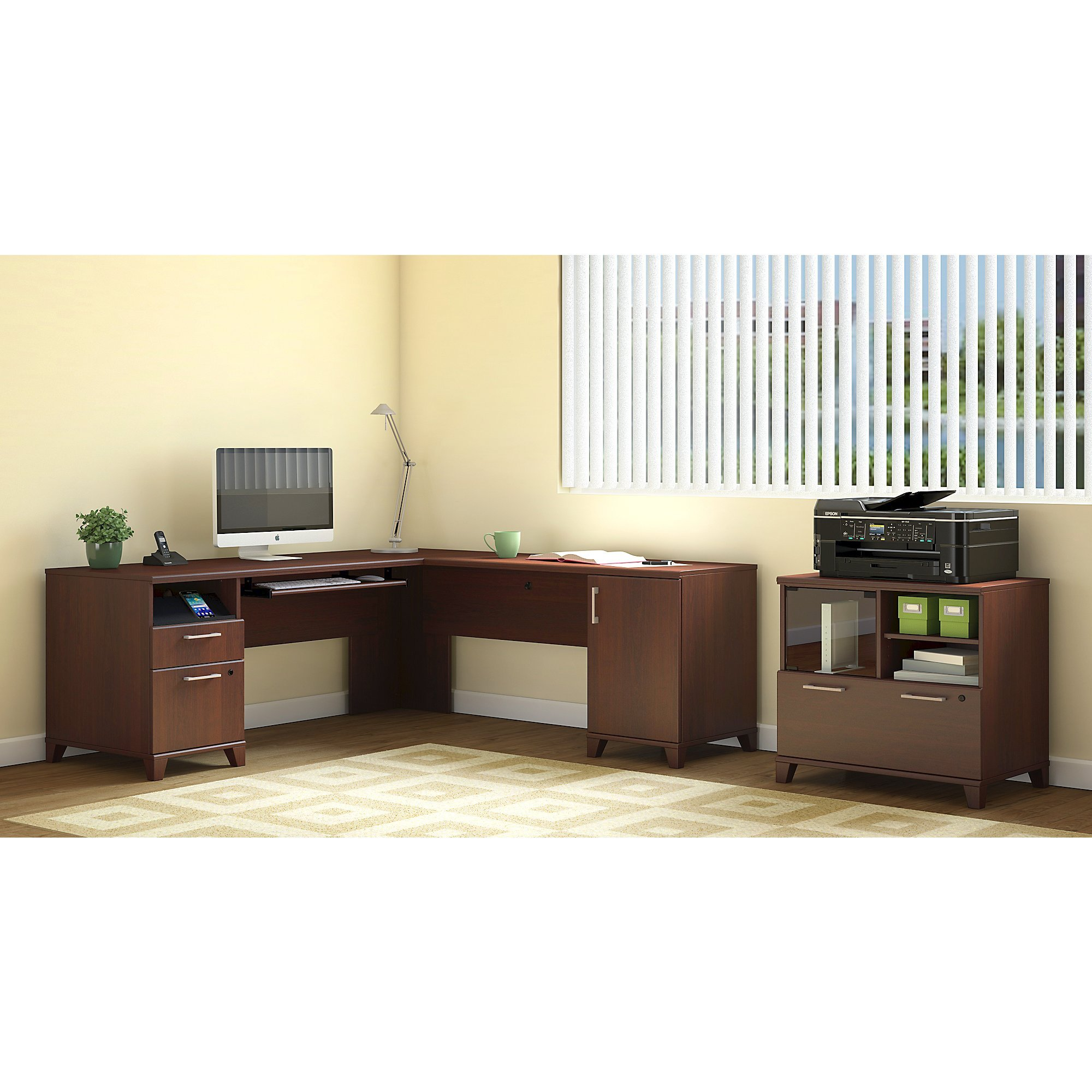 Achieve L Shaped Desk with Printer Stand File Cabinet by Bush Furniture