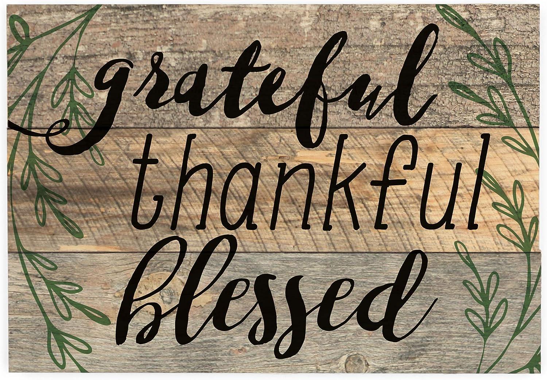 "5/""x12/"" each Thankful /& Grateful Wooden Wall Sign"