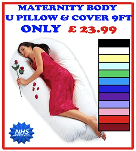 9FT COMFORT/MATERNITY / PREGNANCY BODY U PILLOW WITH CASE (VARIOUS COLOURS AVAILABLE) (RED)