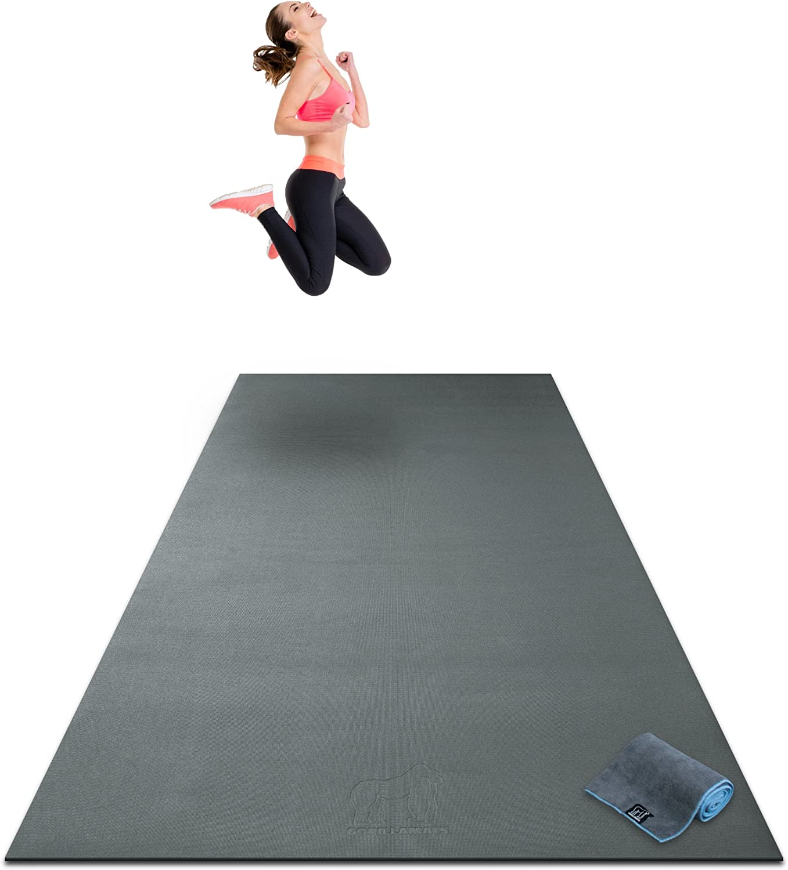 mit Schuhen benutzbar SHANTI NATION - rutschfest inklusive Aufbewahrungstasche Abriebfest gro/ße Fitnessmatte 2,5 x 1,5 m f/ür Intensive Workouts Cardio Mat lang und breit