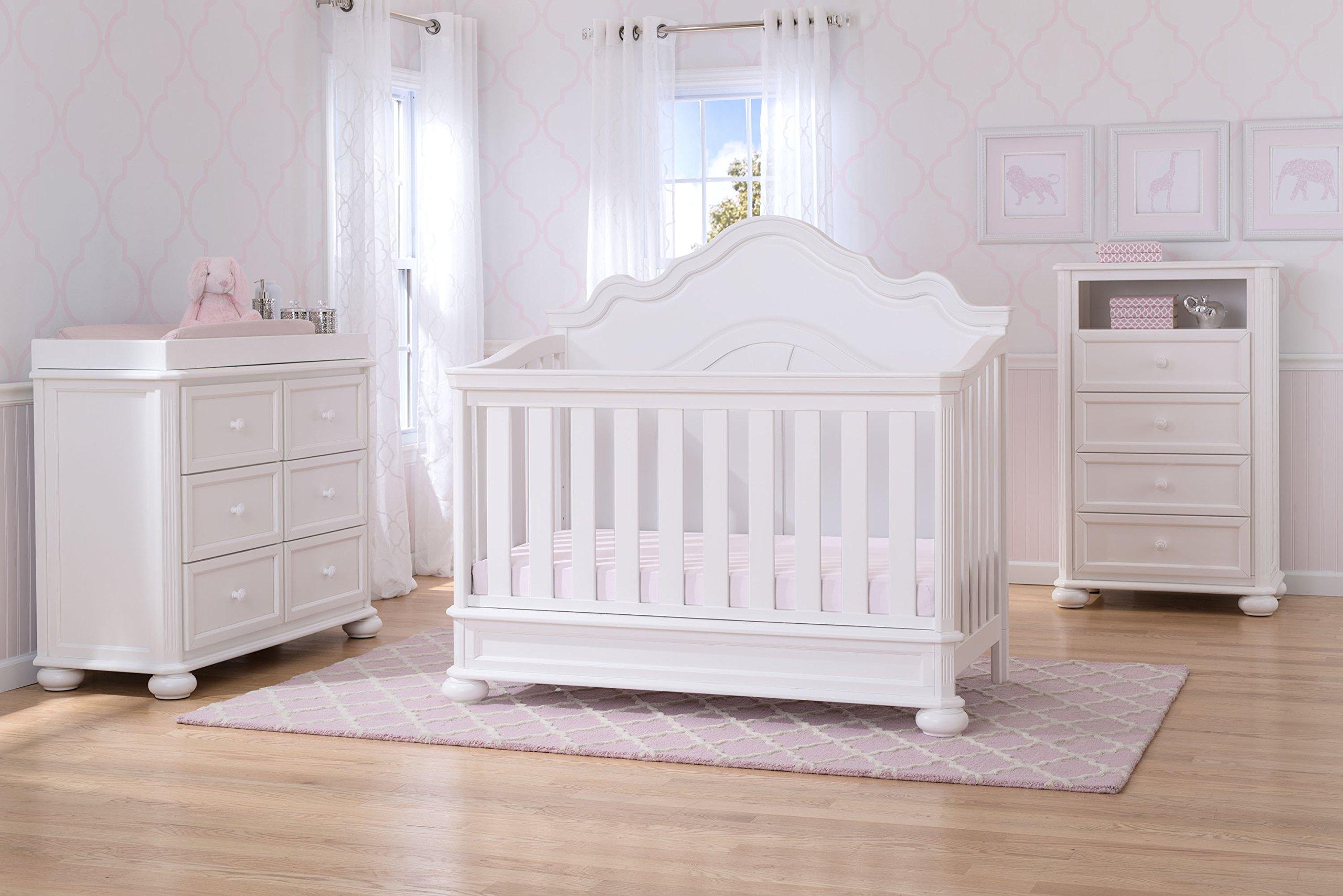 Simmons Kids Peyton 6-Piece Nursery Furniture Set (Convertible Crib, Dresser, Chest, Changing Top, Toddler Guardrail, Full Size Conversion), Bianca White by Delta Children (Image #2)