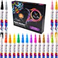 Paint Pens Set of 18 Vibrant Color Acrylic Markers Kit For Rock Painting, Ceramic, Stone, Porcelain, Glass, Wood, Fabric, Canvas, Mugs and More | Extra Fine Tip | Water-based, Non-Toxic and Opaque Ink