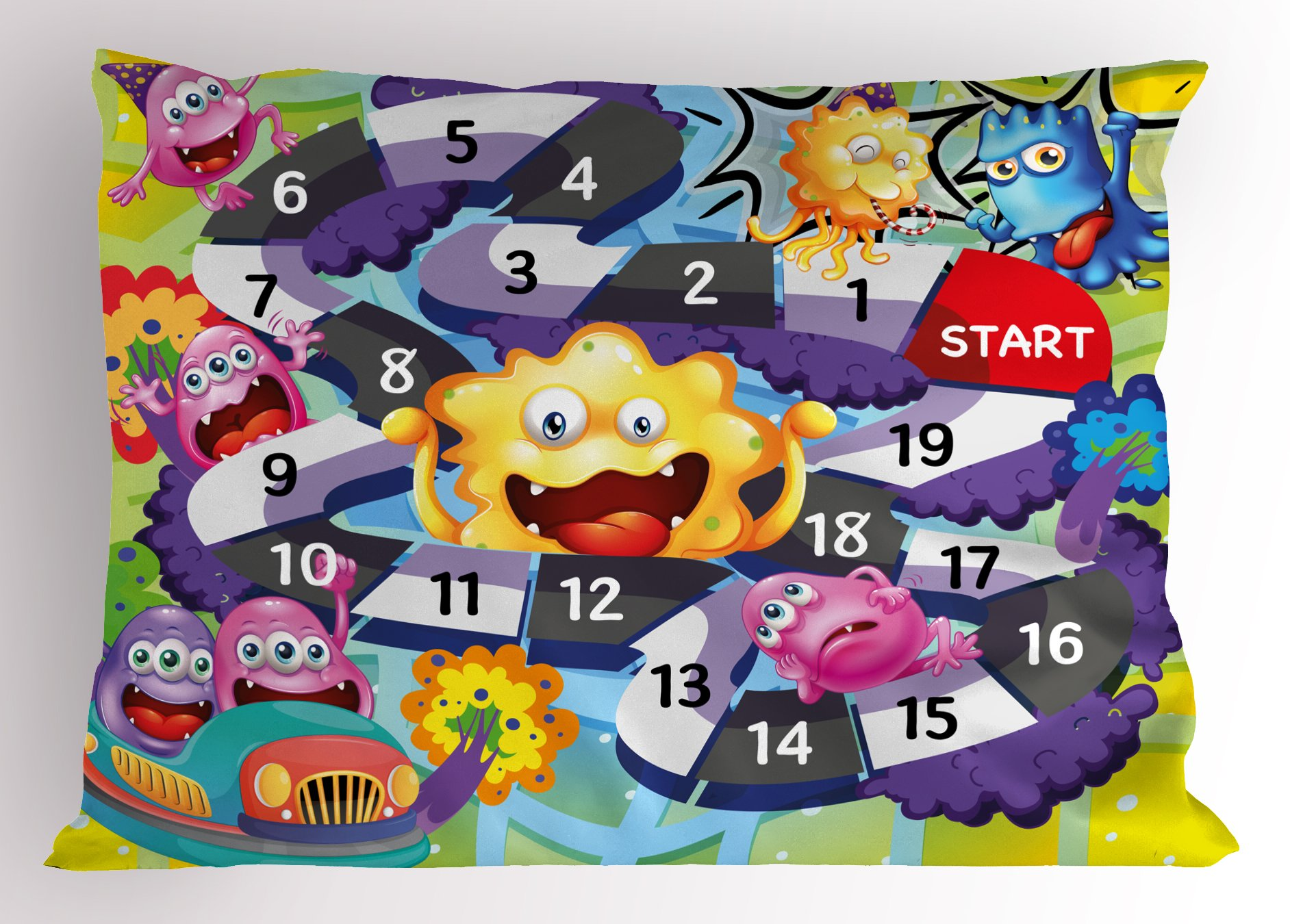 Lunarable Board Game Pillow Sham, Silly Monsters Creatures Finish Route Numbers Funny Expressions Cheering Aliens, Decorative Standard Size Printed Pillowcase, 26 X 20 inches, Multicolor