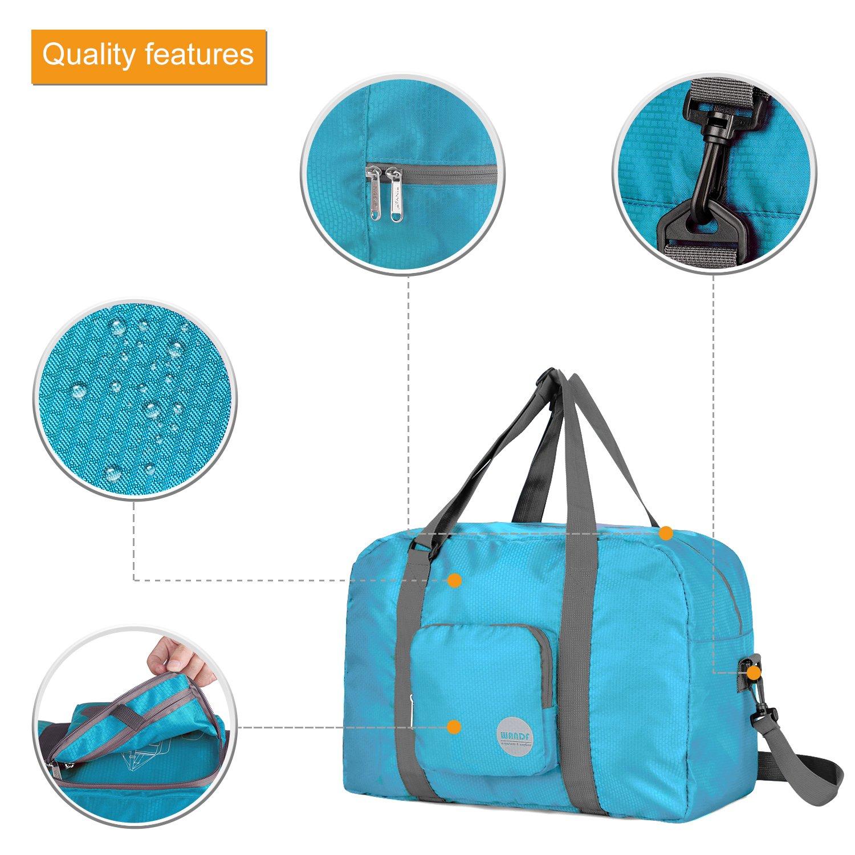 Wandf Foldable Travel Duffel Bag Luggage Sports Gym Water Resistant Nylon, Blue by WANDF (Image #4)