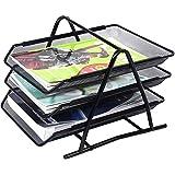 MeRaYo Black Metal Mesh 3 Trays Desktop Organizer/Rack Storage for Office Home Accessories Documents/Letters/Files/Magazine/A4 Document/Newspaper Holder