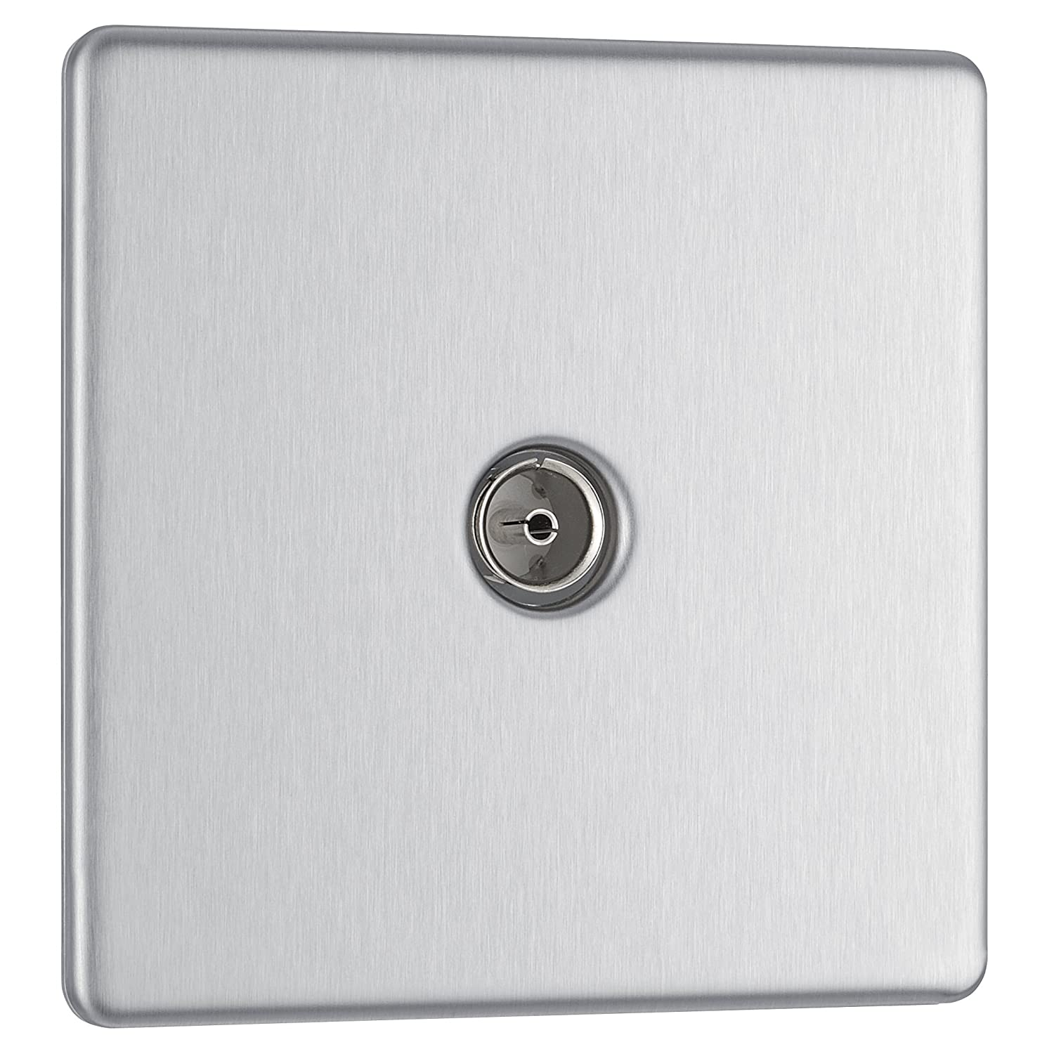 Brushed Steel BG Electrical FBS60 Single Screw less Flat Plate Co-Axial Socket 250 V